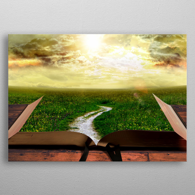 Path Through Bible Concept Art is a graphics composition of a path leading through the bible metal poster