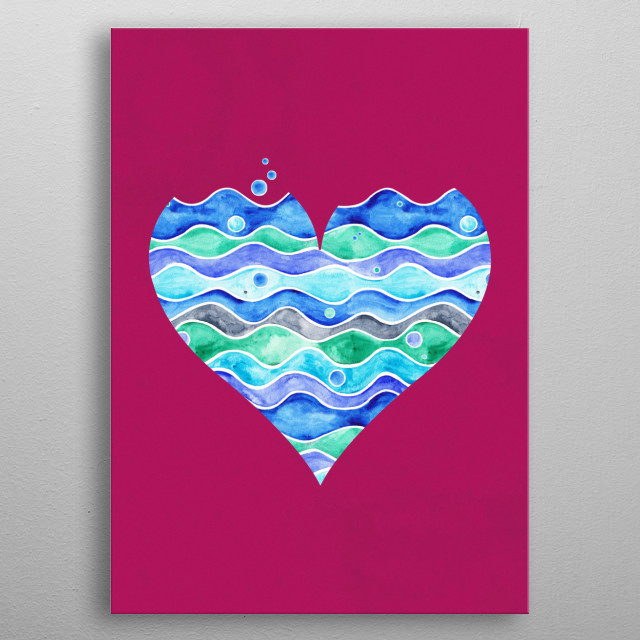 A Sea of Love (purple)A watercolor design, for those who love the sea, for those who love. Because love is not only in the air ;) metal poster