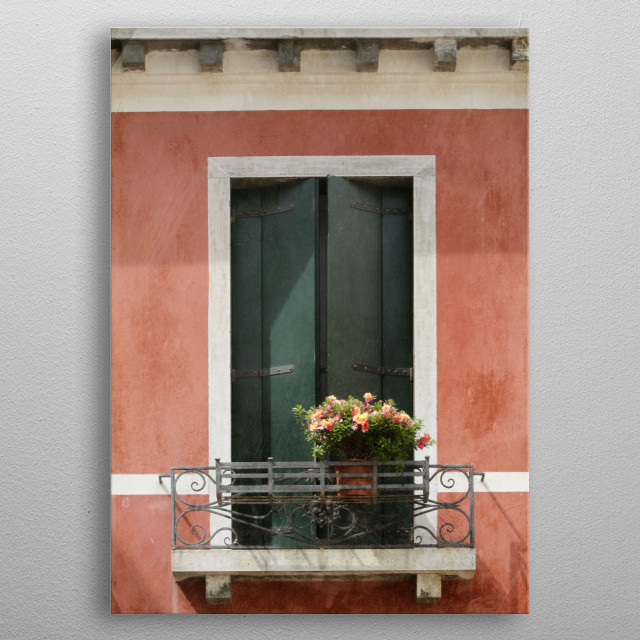 Green Venetian Window on Peach metal poster