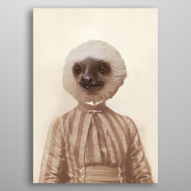 Vintage Sloth Girl Portrait metal poster