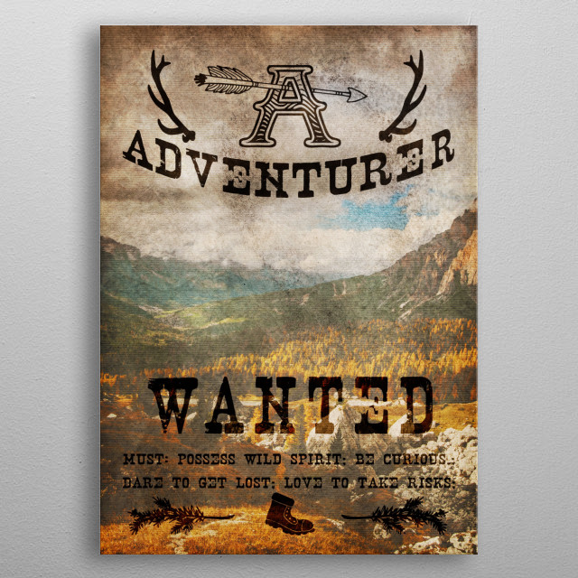 Adventurer Wanted metal poster
