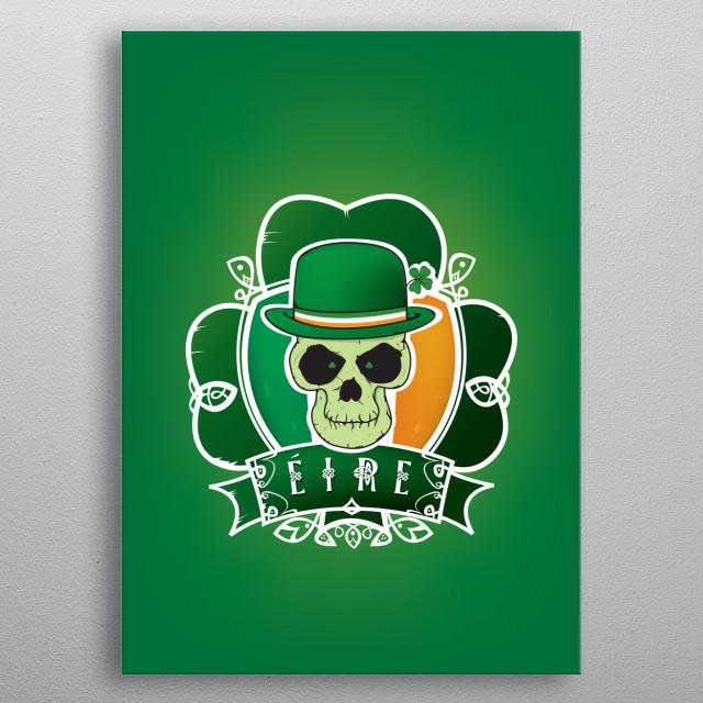 Irish lucky skull metal poster