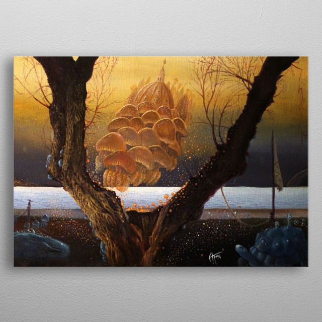 Alessandro Fantini - An der Schwelle (2014-15) Oil on canvas 30x55 cm. metal poster