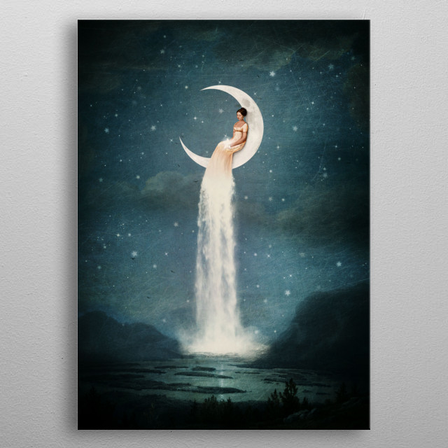 Moon River Lady metal poster