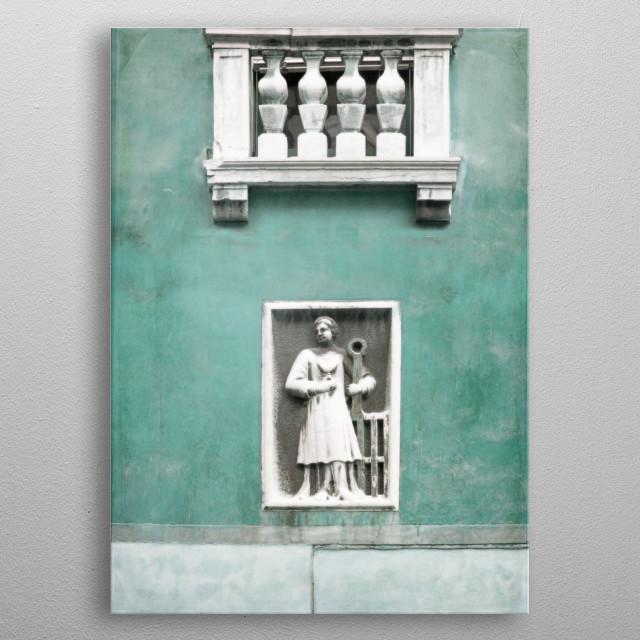 Venetian Balcony and Sculpture in Aqua Blue Green metal poster