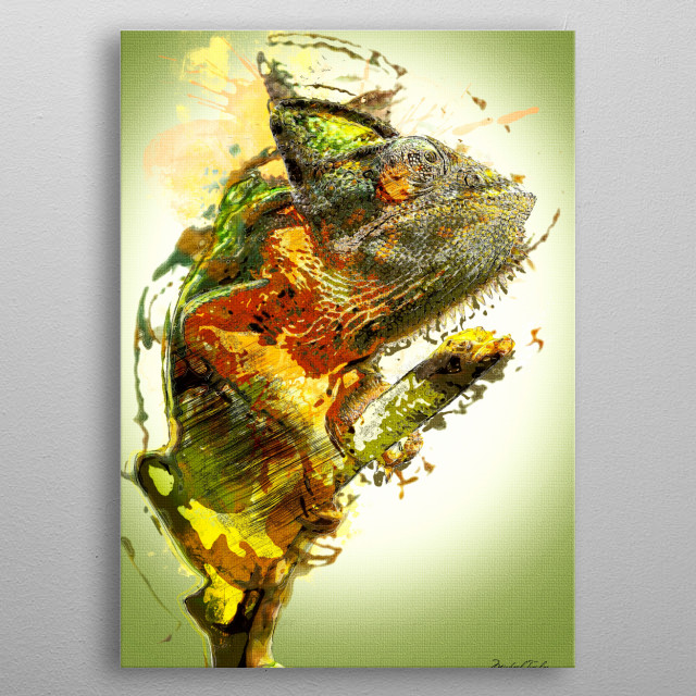Chameleon Painting - colorful green Chameleon lizard with orange patches perched on a tree limb. Done in a painterly style metal poster