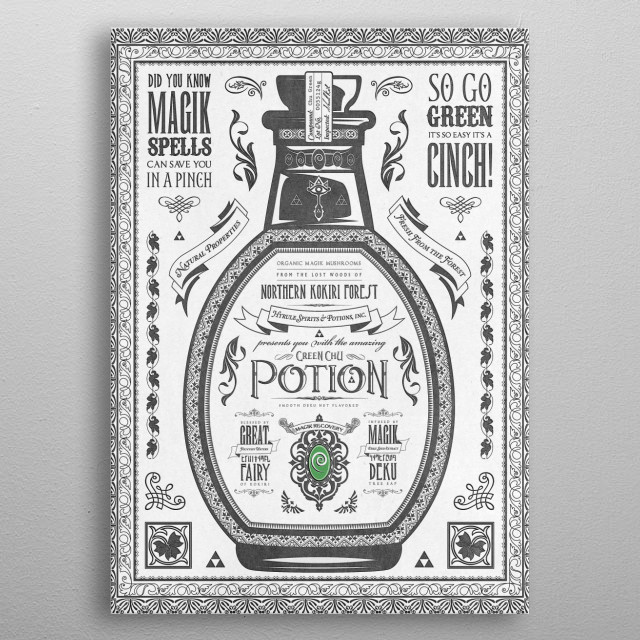 Legend of Zelda inspired Green Chu Potion Advertisement metal poster