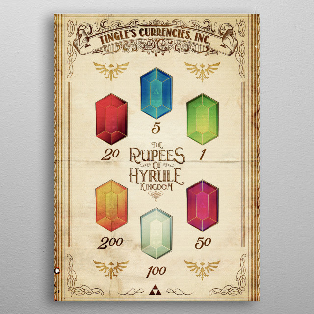 Tingles Guide to the Rupees of Hyrule Kingdom metal poster