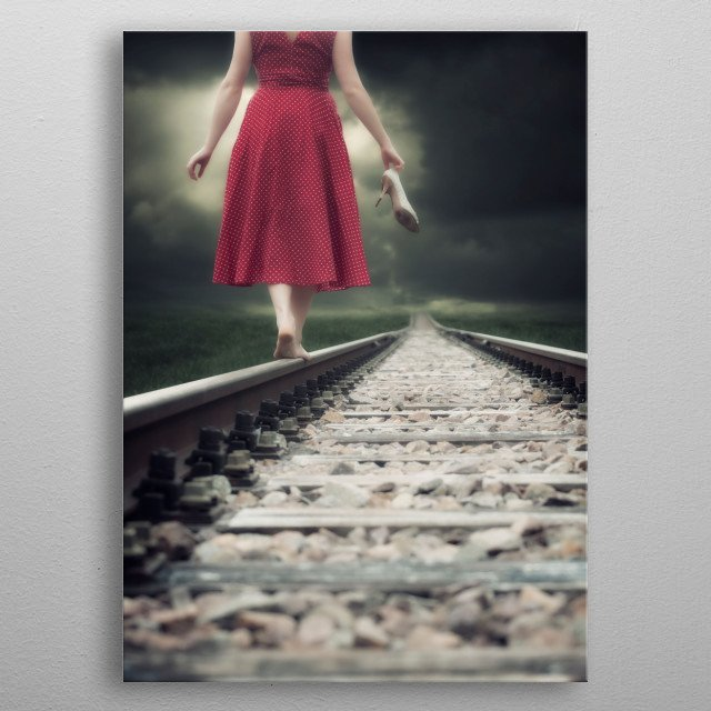 railway tracks metal poster