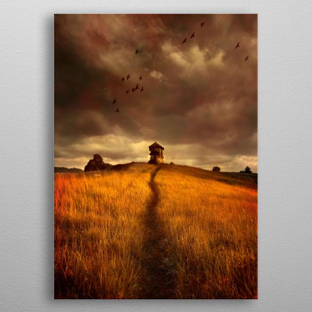 Golden fields metal poster