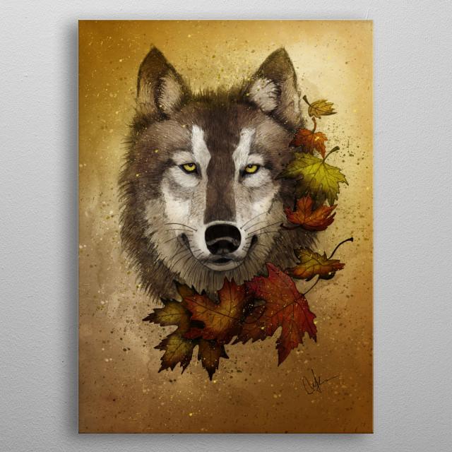 Autumn Wolf metal poster