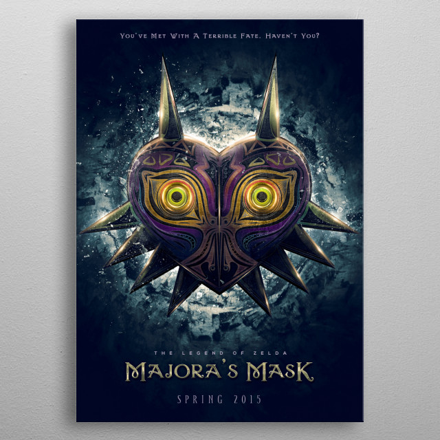 Inspired by Legend of Zelda, Majoras Mask game title this is my reimagining of the game title as if it were a movie poster. metal poster