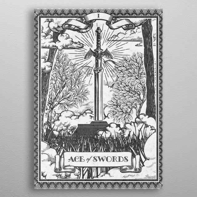 Inspired by Legend of Zelda iconic Master Sword this is my vintage reimagining of one of the Tarot card arcana. metal poster