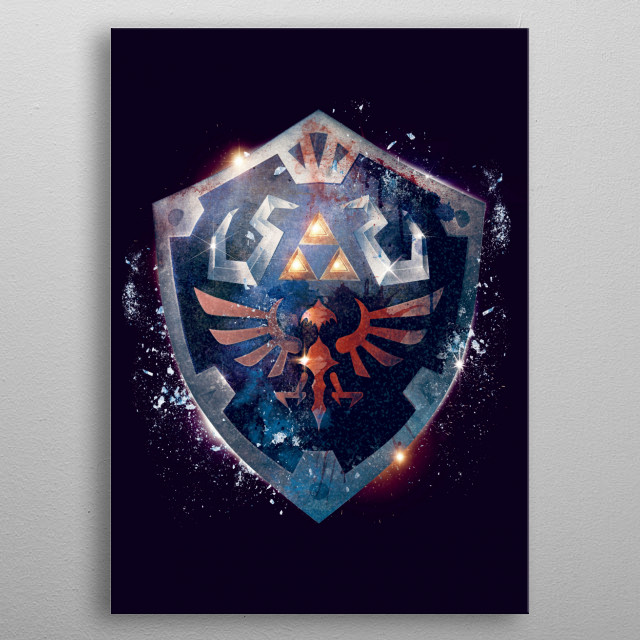Dramatic and epic poster design I made based on the Legend of Zeldas iconic Hylian Shield in a movie poster style. metal poster