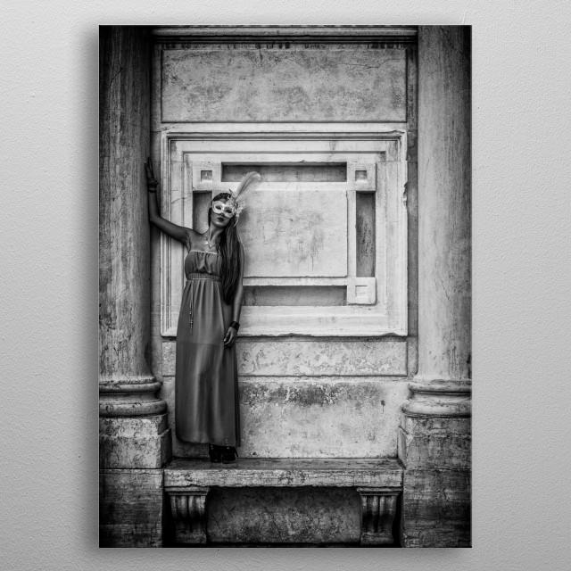 Model In Venice metal poster