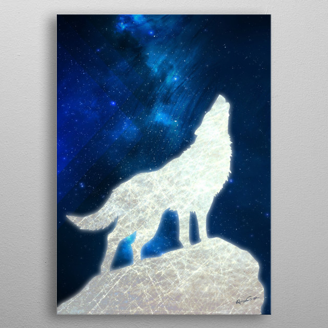 Space Wolf metal poster