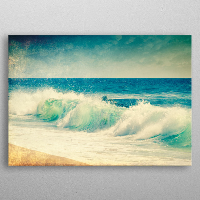again and again - close up uf a wave crashing on the beach metal poster