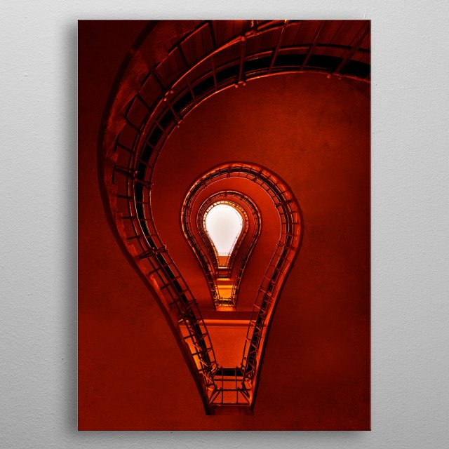 Lightbulb - staircase in red metal poster