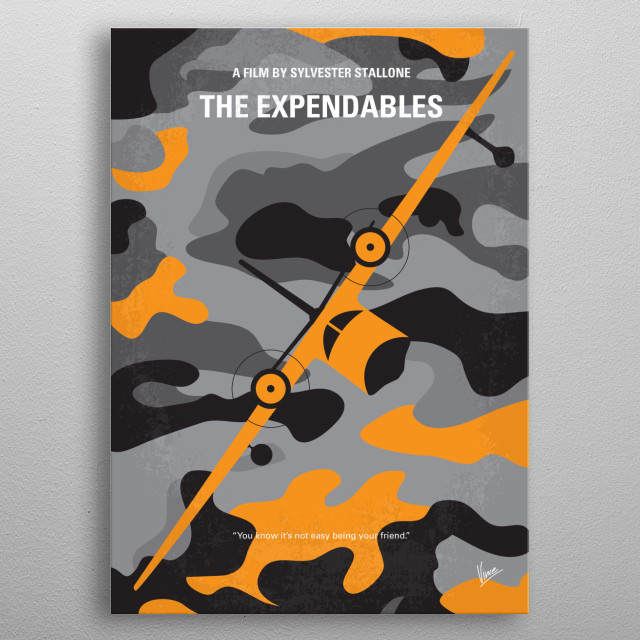 No413 My The expendables minimal movie poster  A CIA operative hires a team of mercenaries to eliminate a Latin dictator and a renegade CIA agent.  Director: Sylvester Stallone Stars: Sylvester Stallone, Jason Statham, Jet Li metal poster
