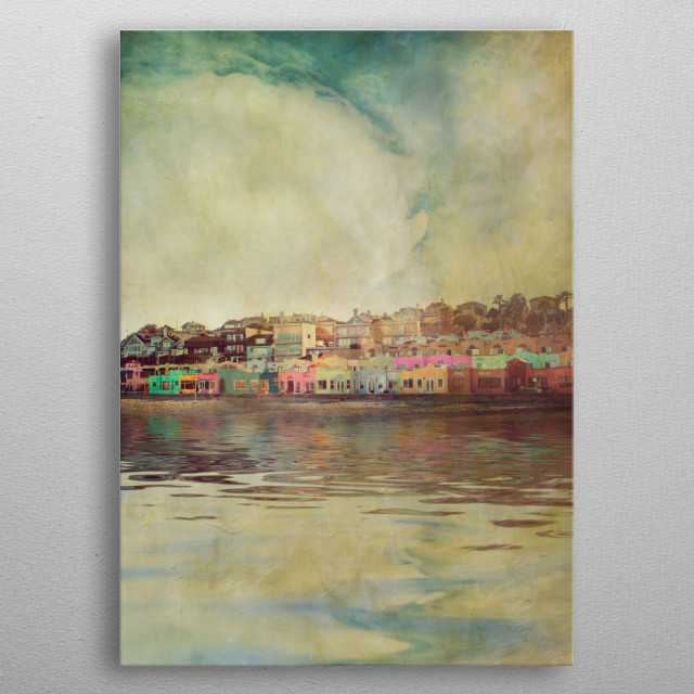 Colorful beach homes along the Pacific Ocean near Santa Cruz, California with a little bit of texture added for an artful and painterly result. metal poster