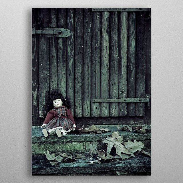 abandoned doll metal poster