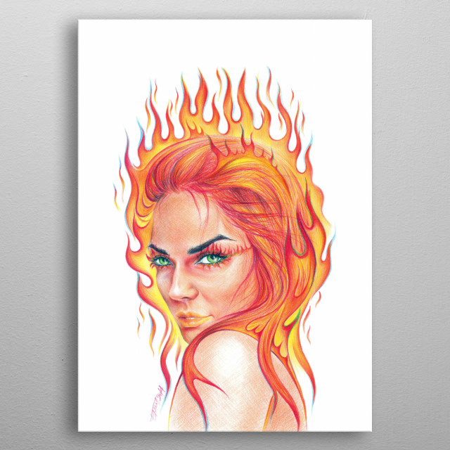Fire | Colored pencils drawing metal poster