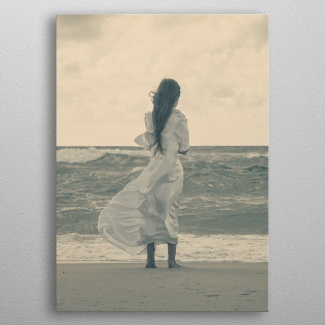 windy day at the beach metal poster