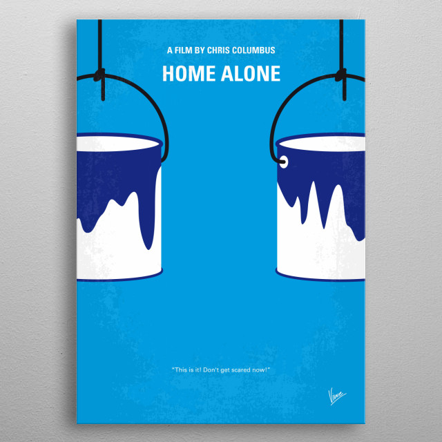 No427 My Home alone minimal movie poster  An 8-year old troublemaker must protect his home from a pair of burglars when he is accidentally left home alone by his family during Christmas vacation.  Director: Chris Columbus Stars: Macaulay Culkin, Joe Pesci, Daniel Stern metal poster