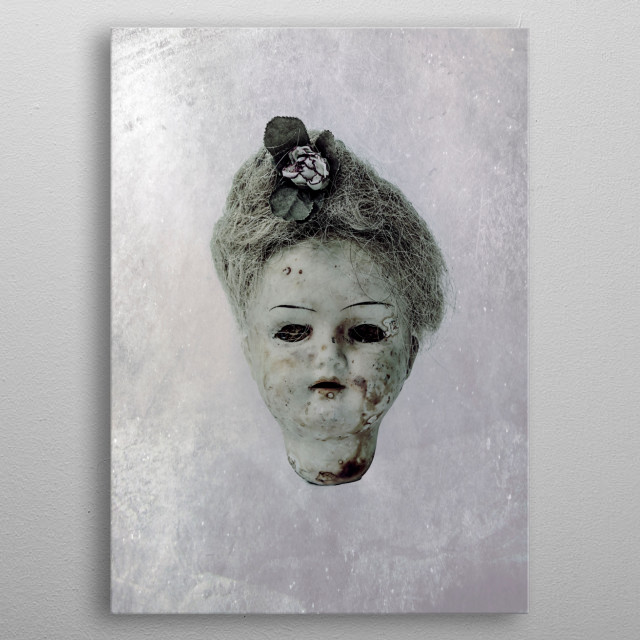 creepy doll metal poster