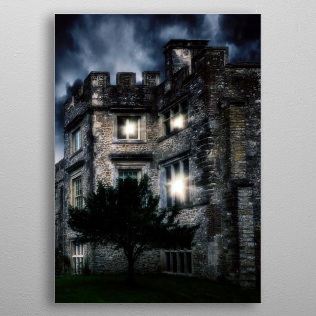 spooky castle metal poster