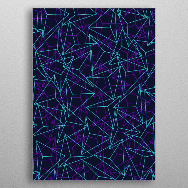 Abstract Geometric 3D Triangle Pattern in  turquoise/ purple metal poster