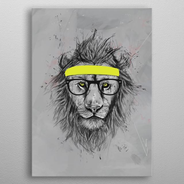 Hipster lion metal poster