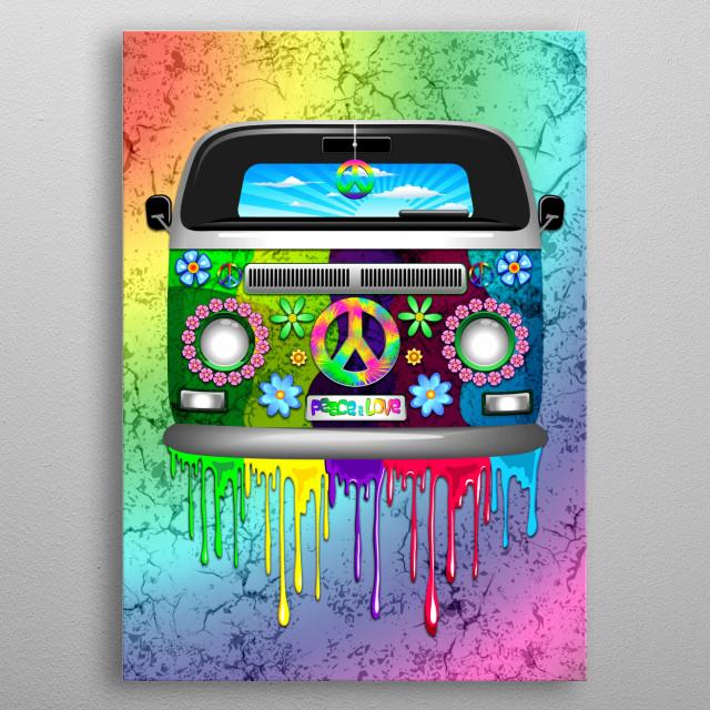 Hippie Van Dripping Rainbow Paint metal poster
