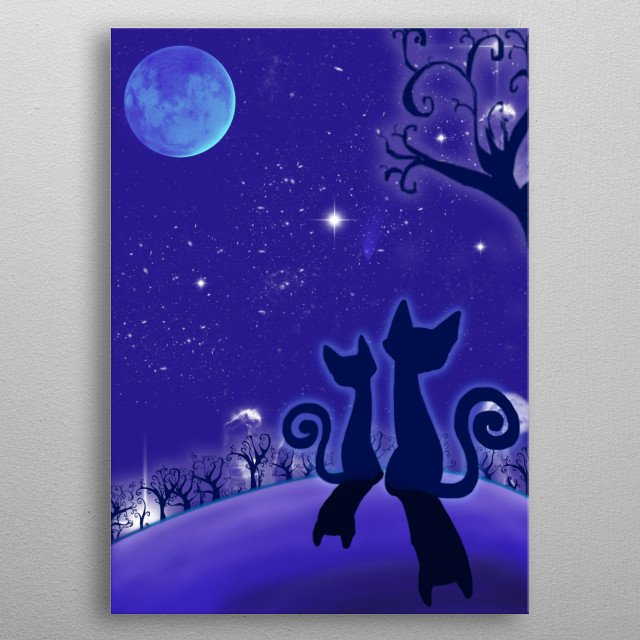 The cats and the moon metal poster