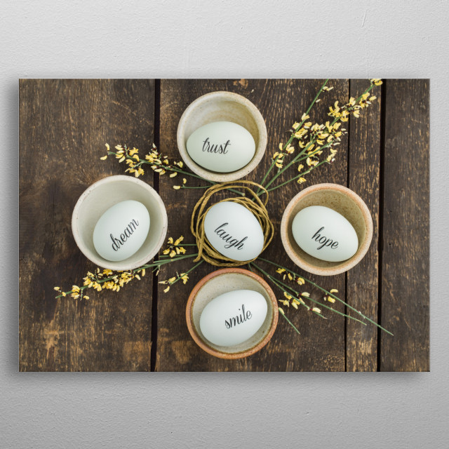 Eggs with handwritten messages in a basket with straw metal poster