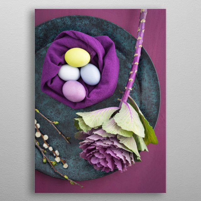 Easter eggs, ornamental cabbage and willow catkins on a bowl metal poster
