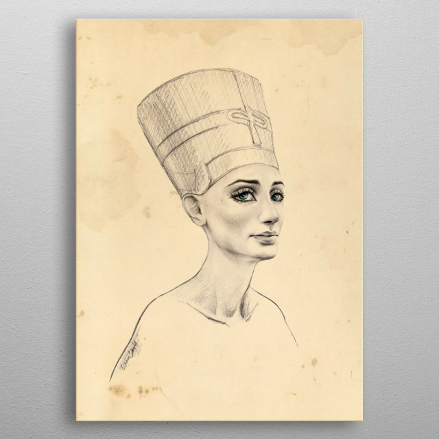 Ancient / Nefertiti portrait | Graphite pencil drawing with digital color and texture metal poster
