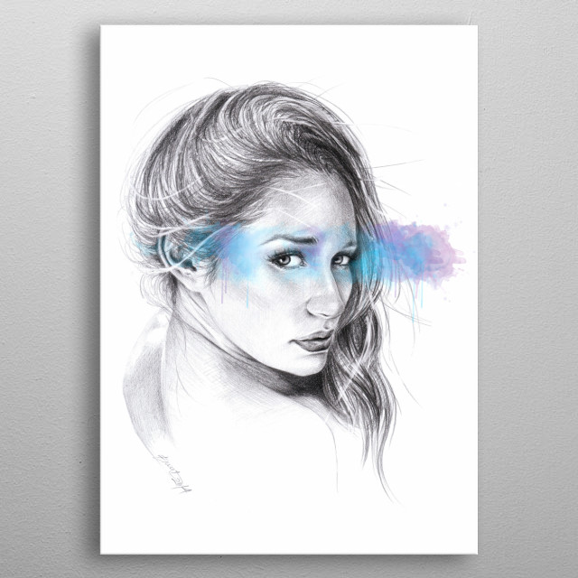 Look away | Graphite pencil sketch with digital color metal poster