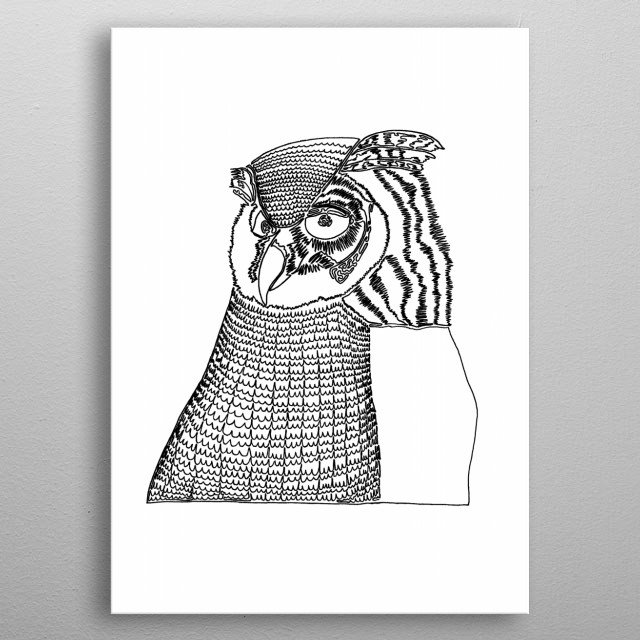 "Owl. Drawn with one line. ""Owls never remember who you're talking about."" The line starts in the rightmost eye (the owl's left eye) and ends at the bottom right corner of his wing. metal poster"
