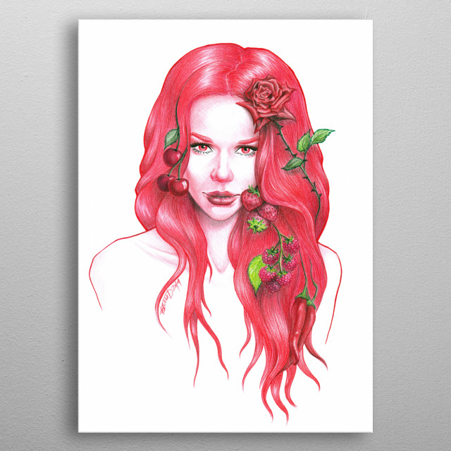 Red haired woman with a rose and red fruits in her hair | Colored pencils drawing metal poster