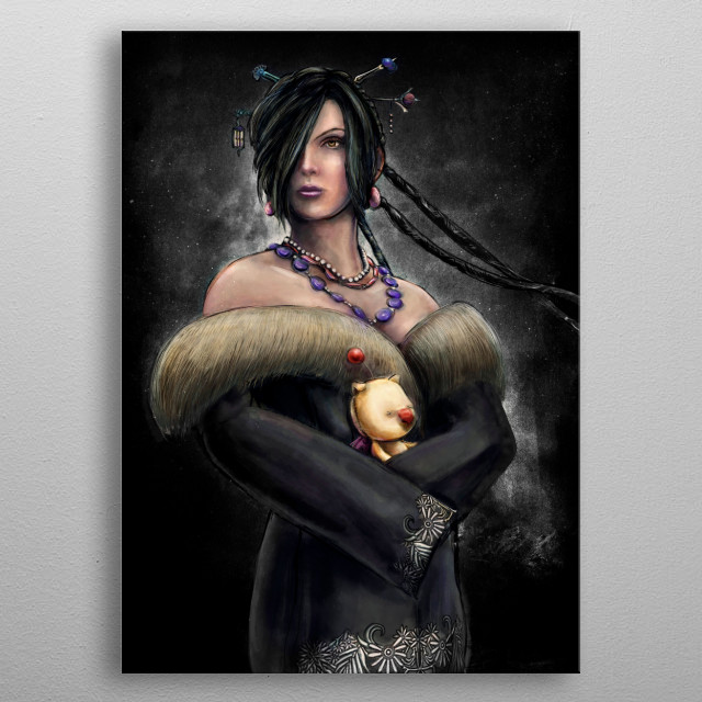 A digital painting portrait of the black mage character, Lulu inspired from the video game, Final Fantasy X. metal poster