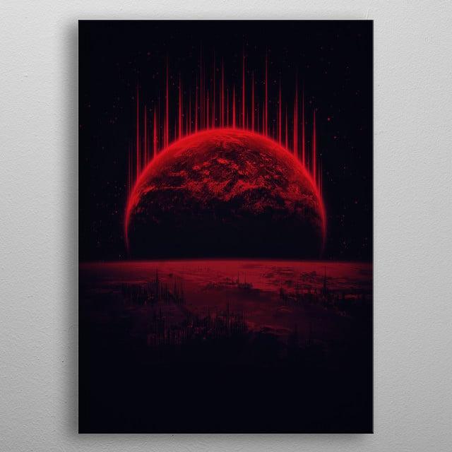 Lost Home! Colosal Future Sci-Fi Deep Space Scene in diabolic Red metal poster