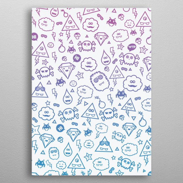 Crazy and Cute Monster Patter in blue pink metal poster