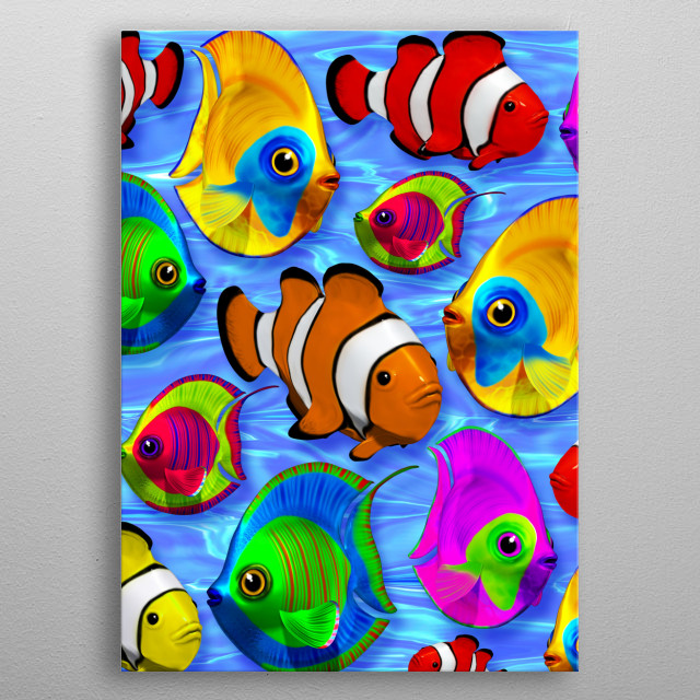 3d Tropical Fishes on Clear Crystal Water metal poster