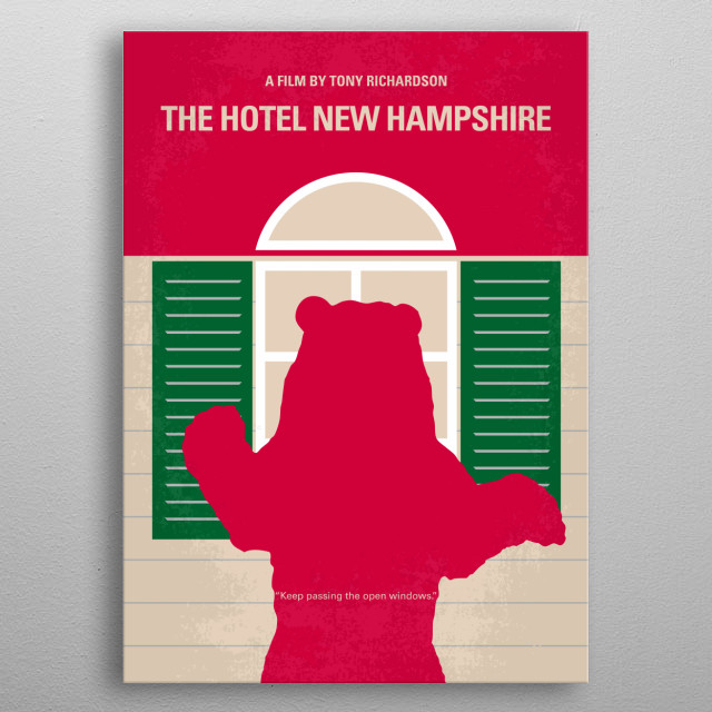 No443 My The Hotel New Hampshire minimal movie poster - The film talks about a family that weathers all sorts of disasters and keeps going in spite of it all. It is noted for its wonderful assortment of oddball characters.  Director: Tony Richardson Stars: Rob Lowe, Jodie Foster, Paul McCrane metal poster