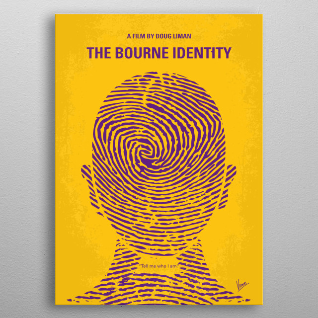 No439 My The Bourne identity minimal movie poster - man is picked up by a fishing boat, bullet-riddled and suffering from amnesia, before rac... metal poster