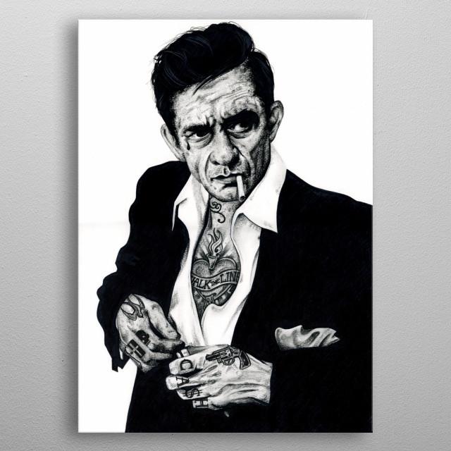 Johnny Ca$h inked metal poster