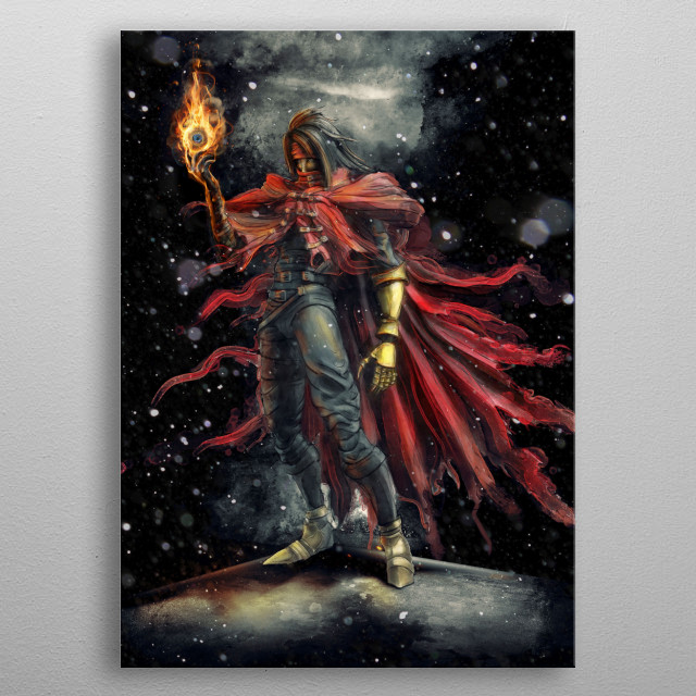 Vincent Valentine epic fire materia inspired by Final Fantasy VII game character metal poster