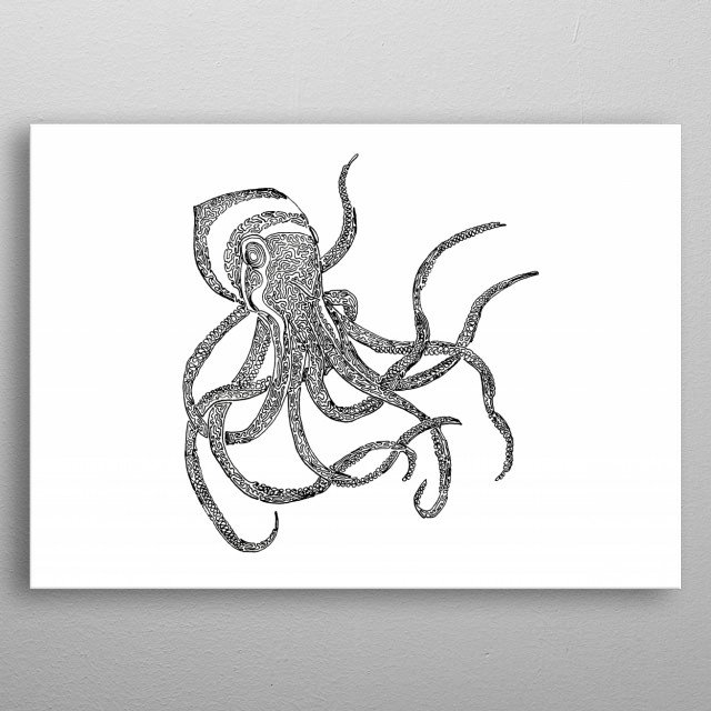 Octopus drawn with one continuous line. The line begins in the left eye and ends to the left of the head, on the lower piece of the tentacle that goes behind her head. metal poster