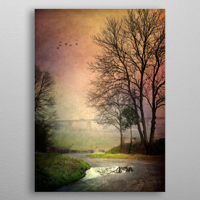 Foggy Path metal poster